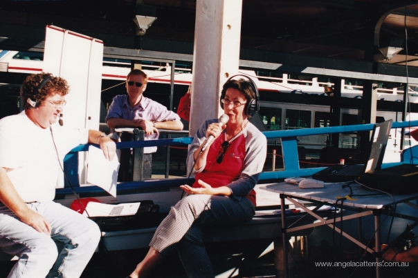 Angela-Catterns and Trevor Thompson   -   Circular Quay, 2003      Outside Broadcast from a ferry. Breakfast Show, 702 ABC Sydney