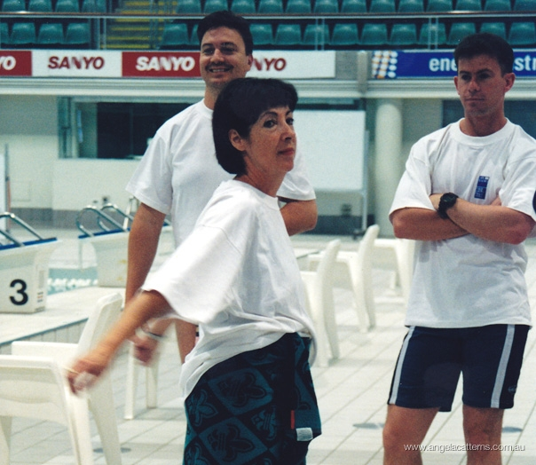 Angela Catterns and Tony Squires   -   Sydney Olympic Park Aquatic Centre, 2001      702 ABC Sydney Swim Team. Warm-up for media race.
