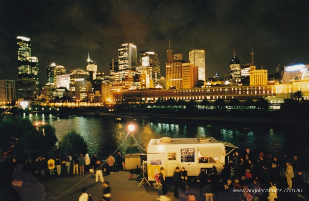 Angela Catterns   -   Southbank, Melbourne, 1999      Outside Broadcast of Opening Night, Melbourne Festival. National Evening Show, ABC Radio