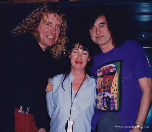 Angela Catterns with Led Zeppelin  -  Triple J studio, 1990     Angela Catterns with Robert Plant and Jimmy Page (Led Zeppelin!!!)