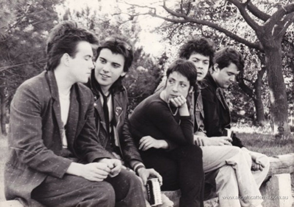 Angela Catterns and The Cure   -   Centennial Park, Sydney, 1980     (Photo Credit: CMoore Hardy)   Angela interviewed The Cure for a Wonder World story during their first Australian tour in support of their 1st album, The Forest.