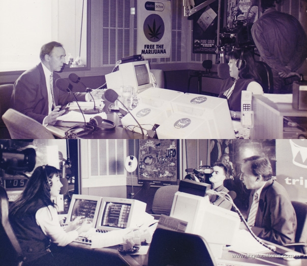 Angela Catterns with Prime Minister Paul Keating   -   Triple J studio, 1996