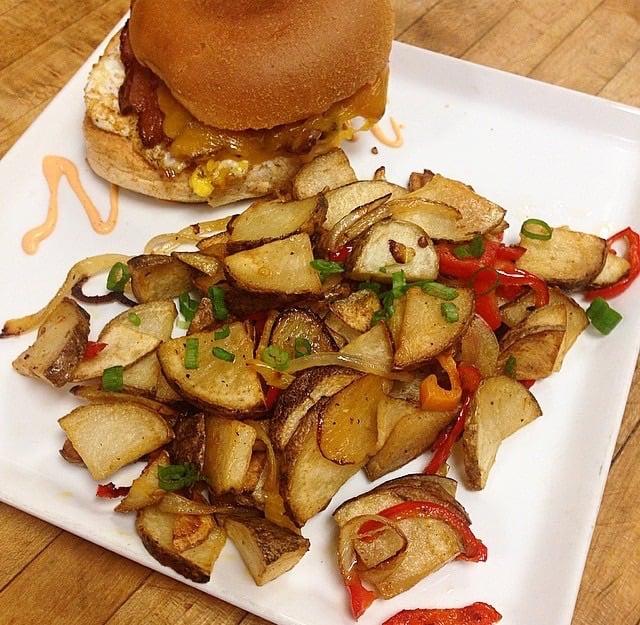 KIAWE Breakfast Sandwich with O'Brien Potatoes