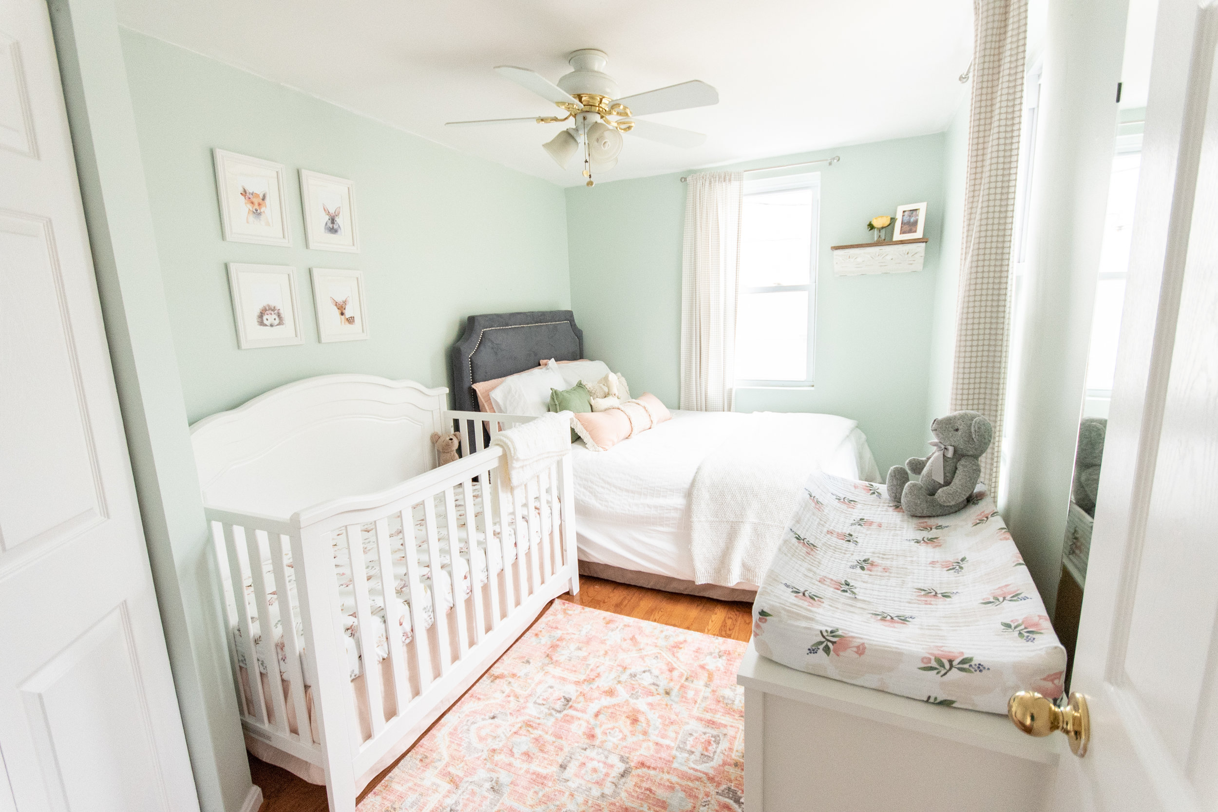 Such a cute nursery and love the idea of having a bed in there as well!