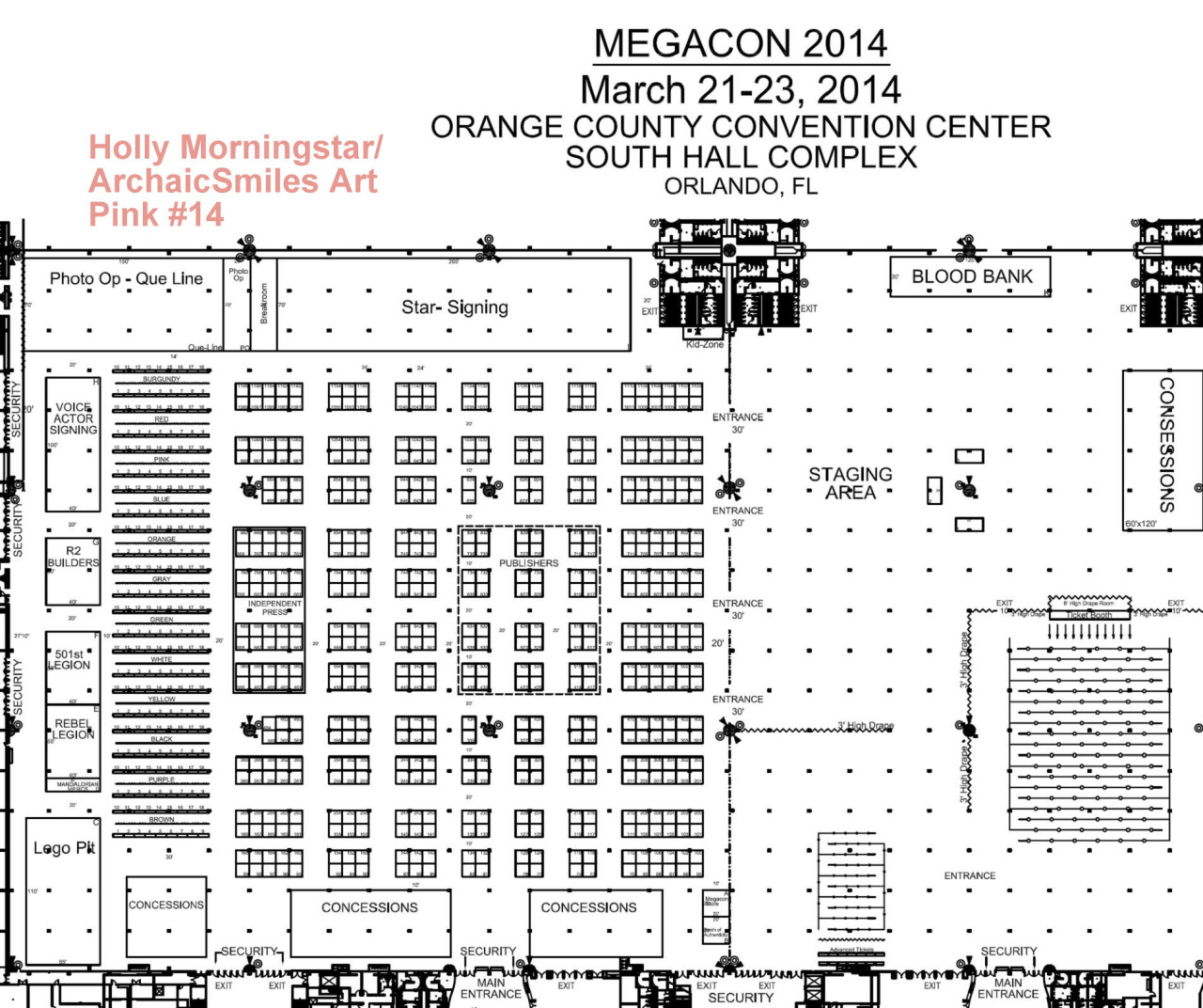 Megacon Floor Plan!    Here's the floor plan for Megacon.  I'm really close to the same spot I had last year in the Pink section. This year, I'm  Pink 14 . Remember, if you stop by my table and mention following me on any kind of social media, you'll receive a gift from me :)  Only 30 days left! See you there :)