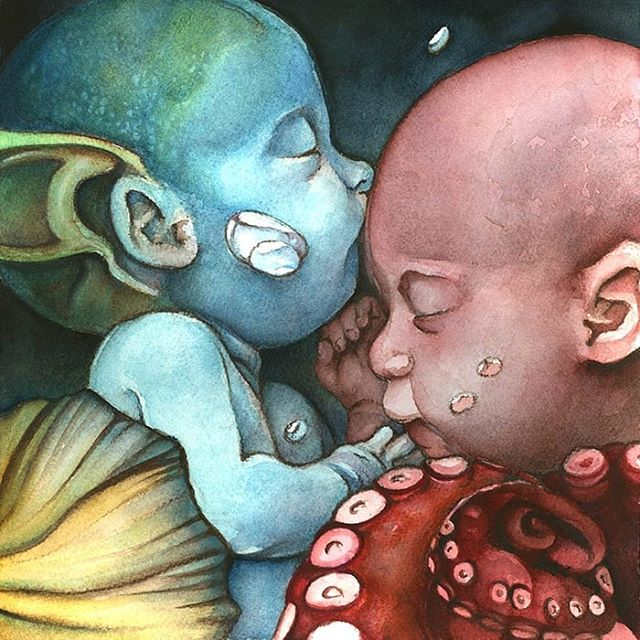 """Fraternal"" is my latest #watercolor paintings, and one that comes from such a special place in my heart. #beautifulbizarre #illustration #instaart #instagood #mermaid #babies #tentacles #chicagoartist #chicago #nursery #nurserydecor #originalartwork"