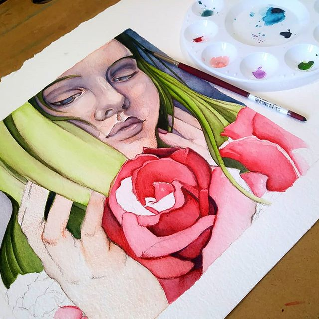 Sure, it was -1 a few days ago, but in my heart spring is already in full bloom. 😂 #roses #watercolor #blickartmaterials #dickblick #wip #artinprogress #illustration #painting #popsurrealism #newcontemporary #workingmom #goalgetter #chicagoartist #artlife