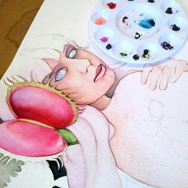 Ira, the latest piece in my Only Human series represents the anger that comes from a place of vulnerability. She is the words we use to lash out at others when we are at our most fragile. #wrath #watercolor #wip #sevendeadlysins #sevensins #venusflytrap #goddess #mythology #newcontemporary #beautifulbizarre #mentalhealthawareness #mentalillness #blickartmaterials #chicago