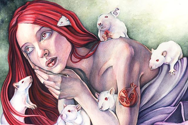 Hope Ostara treated all of you to a bit of hope, wonder, and promise of growth! I painted Persephone's Mischief a few years ago at this time of year. Spring is my fav season and she's one of my favs from mythology. #ostara #firstdayofspring #persephone #mythology #rats #ratsofinstagram #illustration #watercolor #goddess #fantasyart #artoftheday #beautifulbizarre #seedstarting #portrait