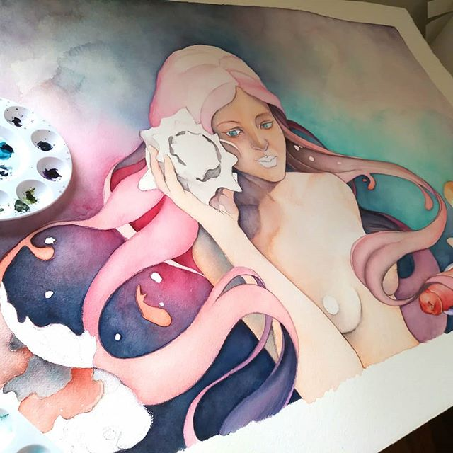 Some sounds bring us memories that are so distant we can't place their origins. Oceans and lakes give me those. They sound like home on a primal level. Trying to pour those feels into this. #wip #goddess #mythology #watercolor #fairytale #fantasy #mermaid #oraclecards #lowbrowart #popsurrealism #instaart #instagood #deardiary