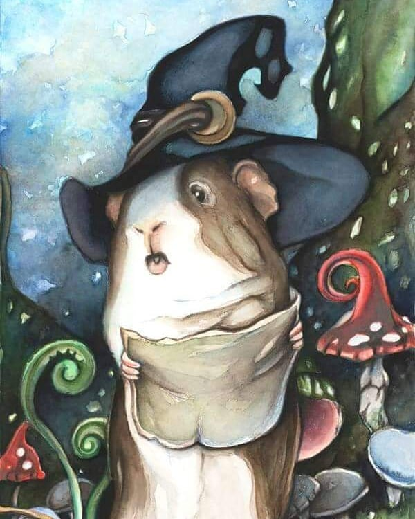 Happy #nationalpetday everyone! Our furbabies add so much magic to our lives and deserve to be celebrated. ❤⭐🐾 #guineapig #guineapigsofinstagram #fairytale #illustration #cuteart #wizard #artdaily #artoftheday #fantasyart #mage #watercolor