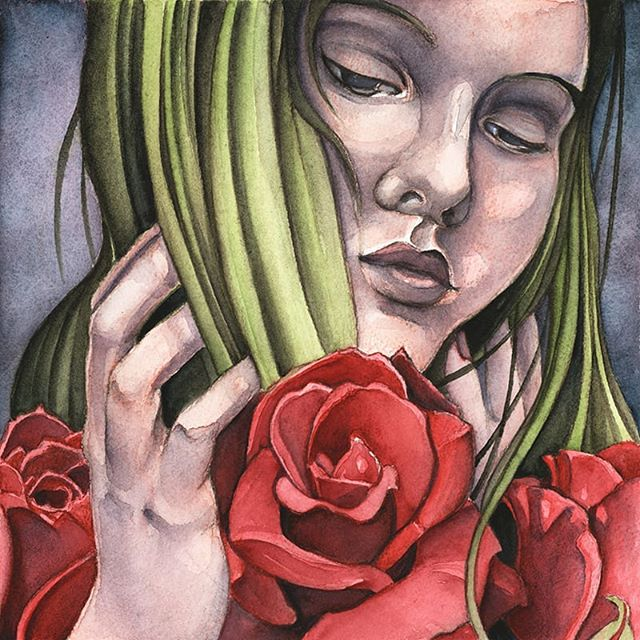 """Briony"" is one of my newest paintings that will be available at Panoply in Huntsville, Al in just a few weeks! @artshuntsville #artshuntsville #panoply2019 #watercolor #artfair #artlife #goddess #witchywoman #witchyart #popsurrealism #artistsoninstagram #feminist #watercolorportrait #lowbrowart #beautifulbizarre #ilovehsv"