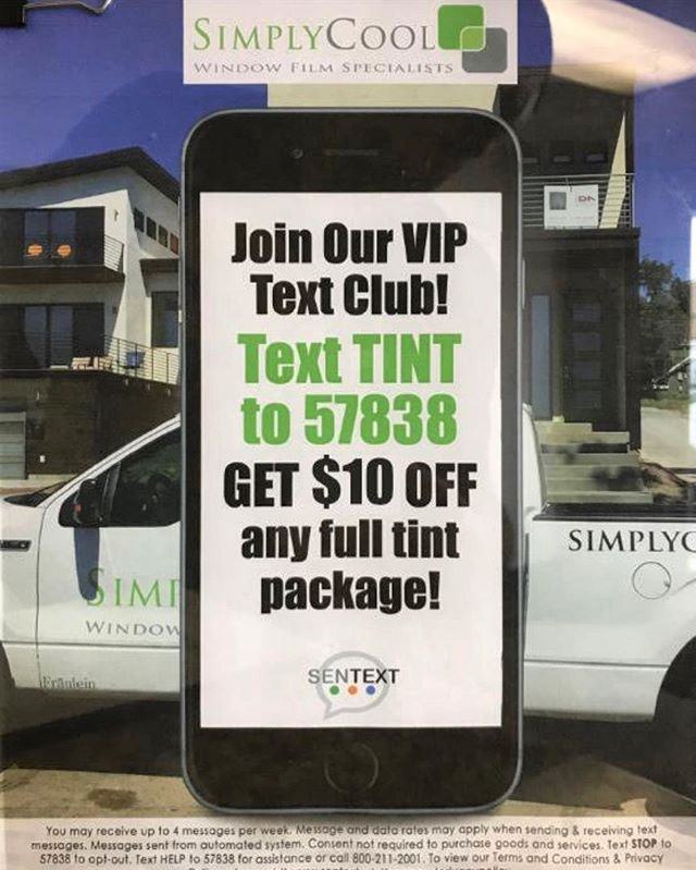 Text TINT to 57838 to opt in to receive $10 off any home or automotive package and receive deals and notifications from Simply Cool.  #simplycool #simplycoolwindowtinting #windowtinting #windowtint #optin #sentext #deals #automotivetint #residentialtint #commercialtint #texttint