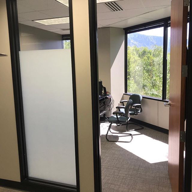 We applied some of Suntek's White Matte film to give this office some privacy.  #simplycool #simplycoolusa #simplycoolwindowtinting #windowtint #officetint #whitematte #suntek #suntekfilms #privacy