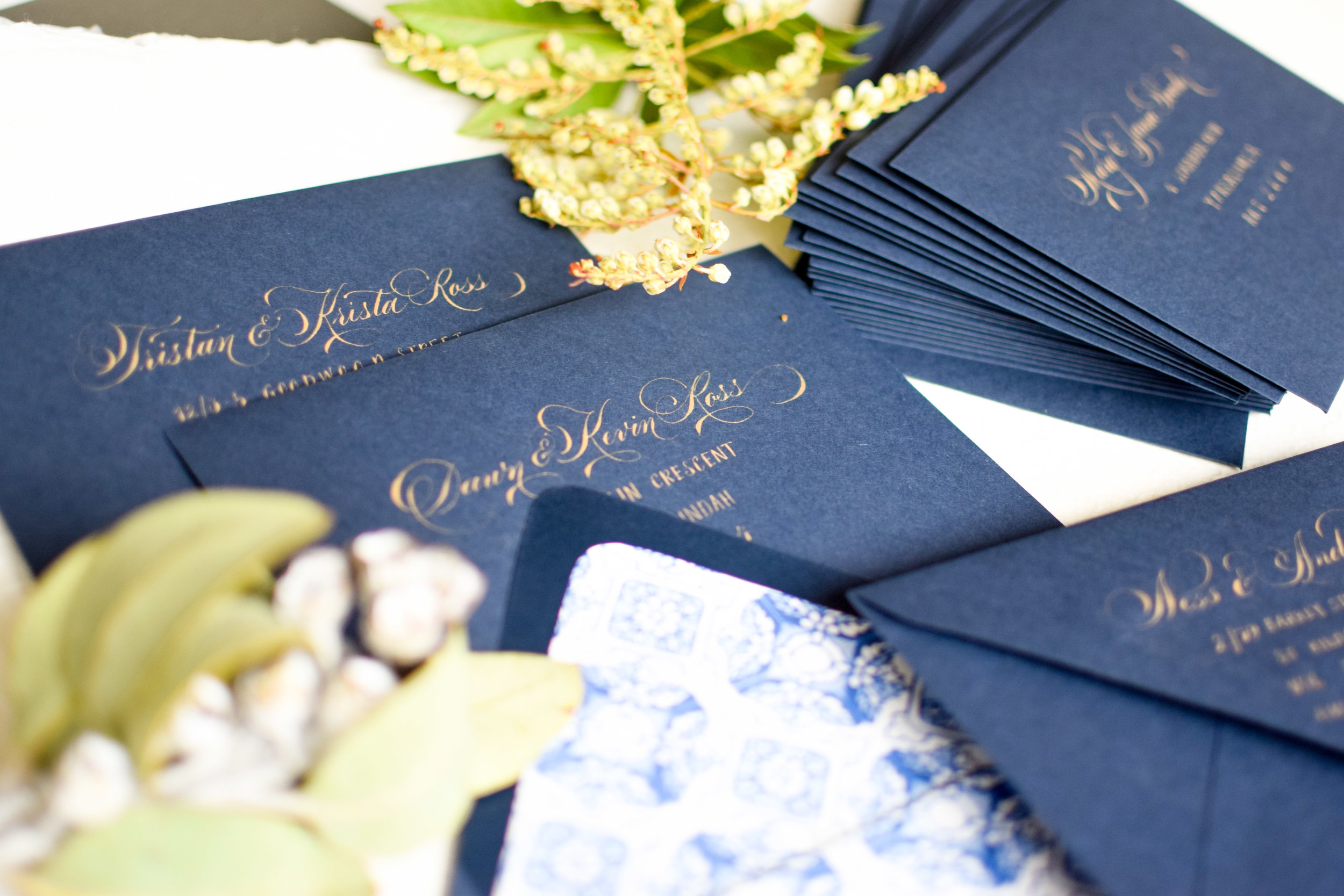Envelope addressing - Hand calligraphed envelope addressing in a variety of styles for the most luxurious personalised touch, a memorable first impression for your guests.
