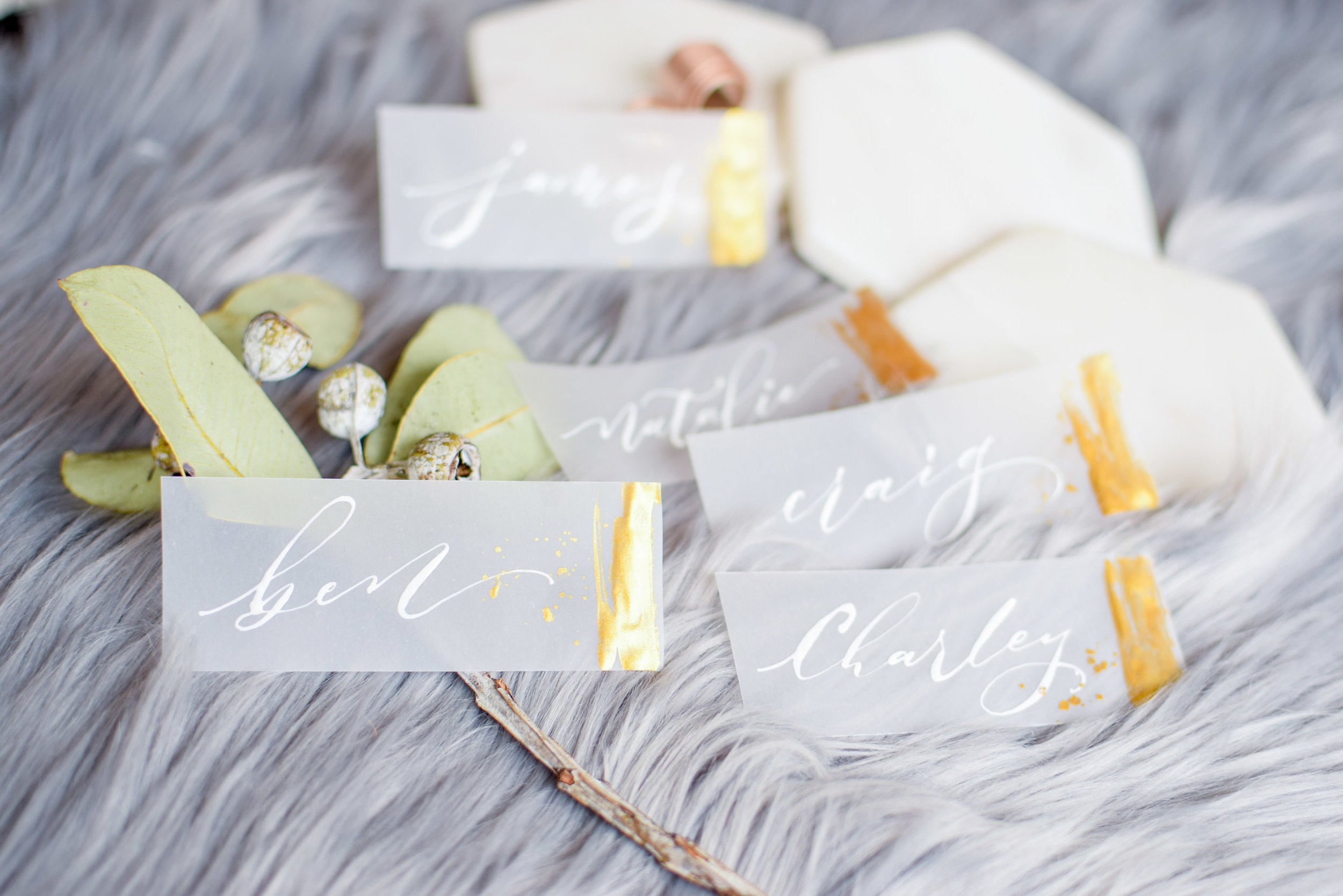 Vellum and Gold Place Cards