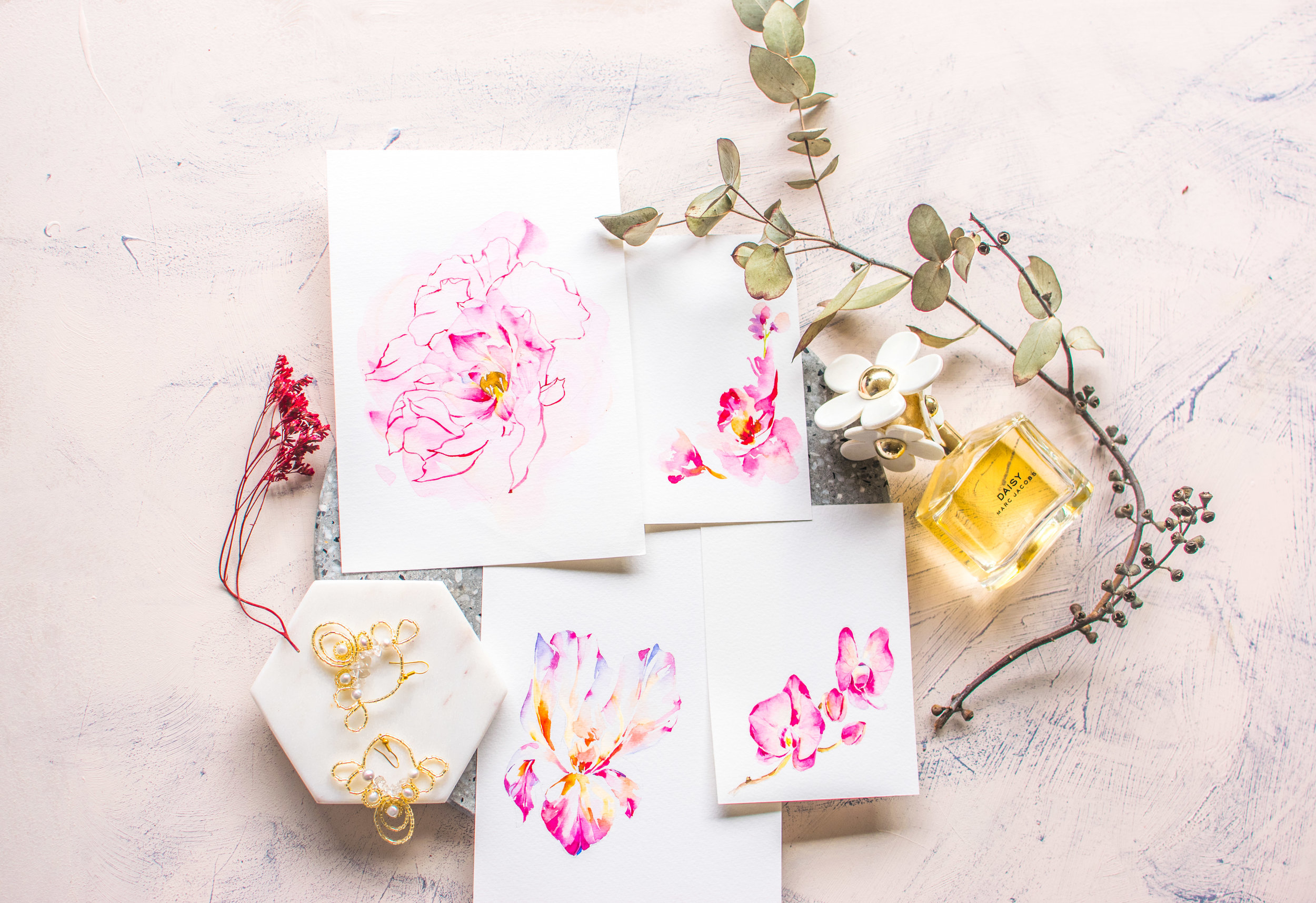 Hand Illustrated Designs - Hand painted watercolour cards for Mercedes Benz' Mother's Day activation event. We offer a variety of hand illustrated designs for every occasion.