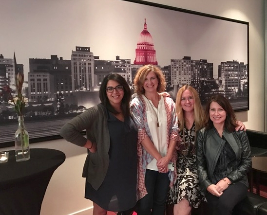 Ellevate Network Board Members (far left),and Meg Prestigiacomo (far right) joining THE JILLS OF ALL TRADES™cofounders Corinne Neil and Megan A.C.Boswell.