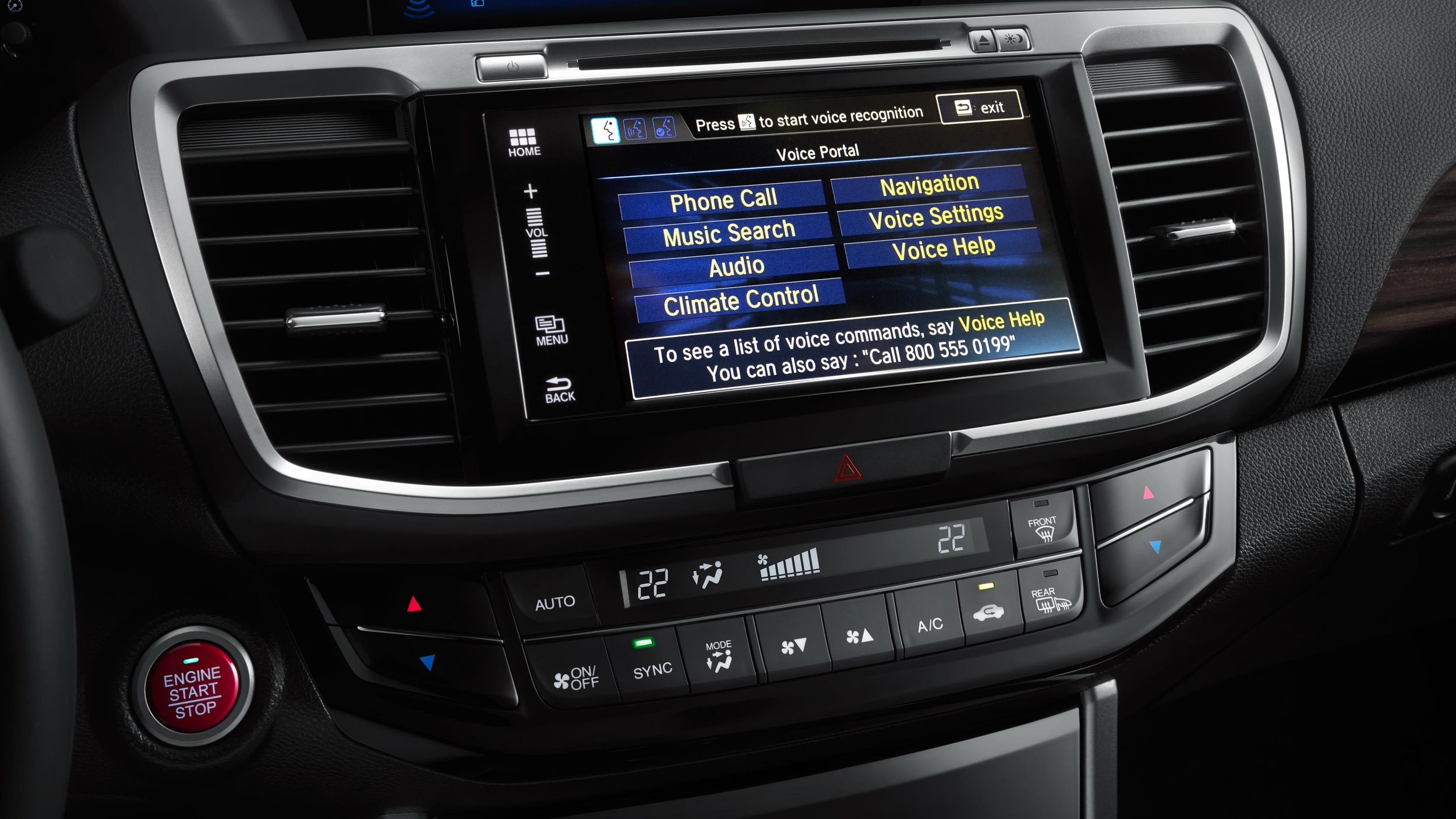 2016 Honda Accord center console infotainment system