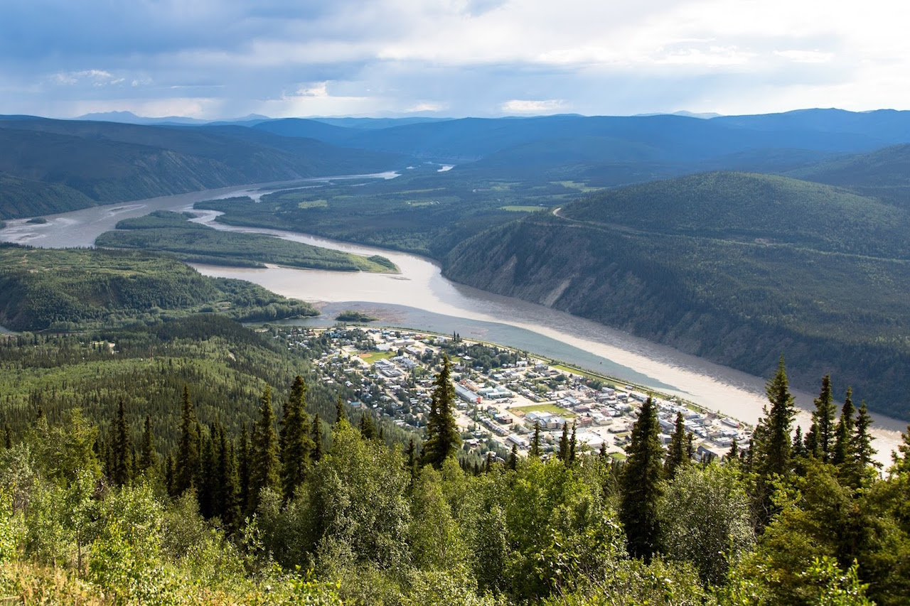 The view from Midnight Dome  at the confluence of the Yukon and Klondike rivers.