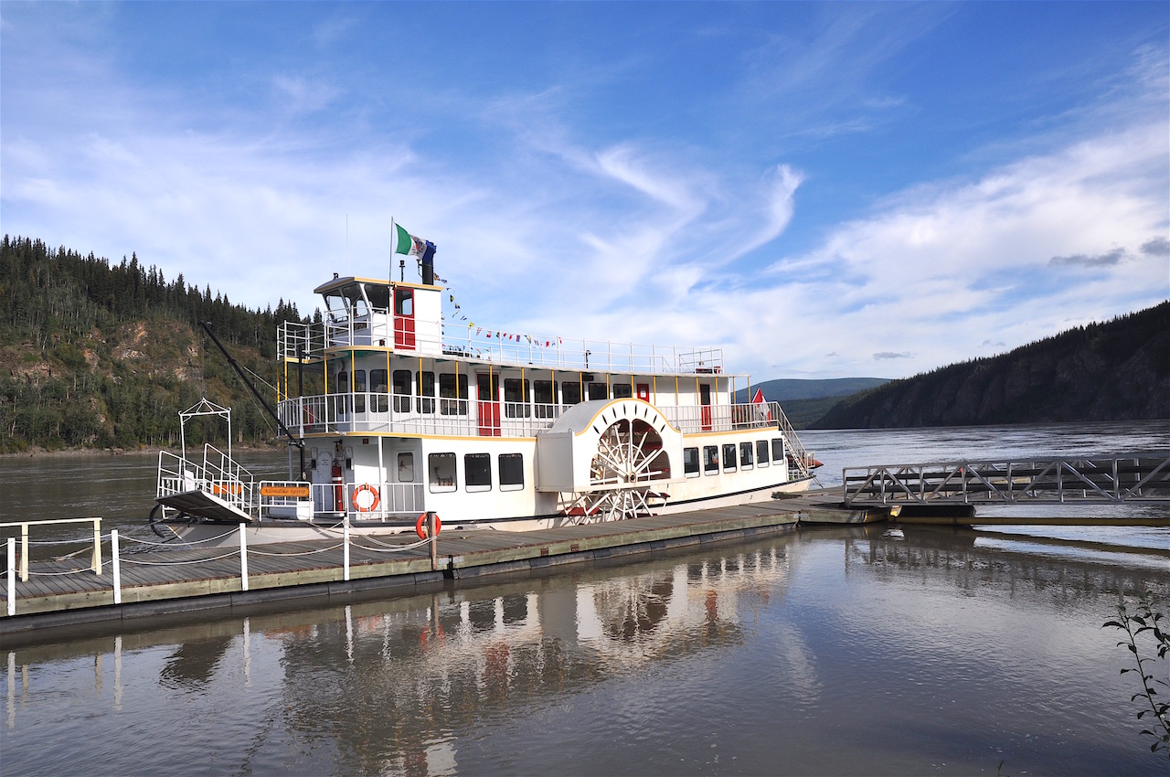 The Klondike Spirit paddle-wheeler awaits its next group of tourists to experience a trip on the fast-moving Yukon River.