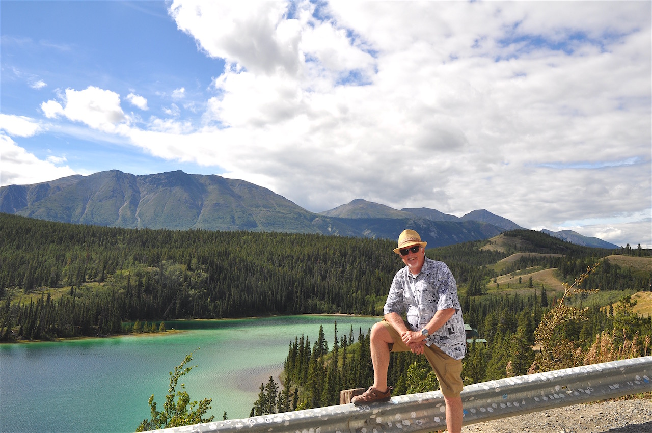 The author enjoys the view of Emerald Lake on the way to Skagway, Alaska.