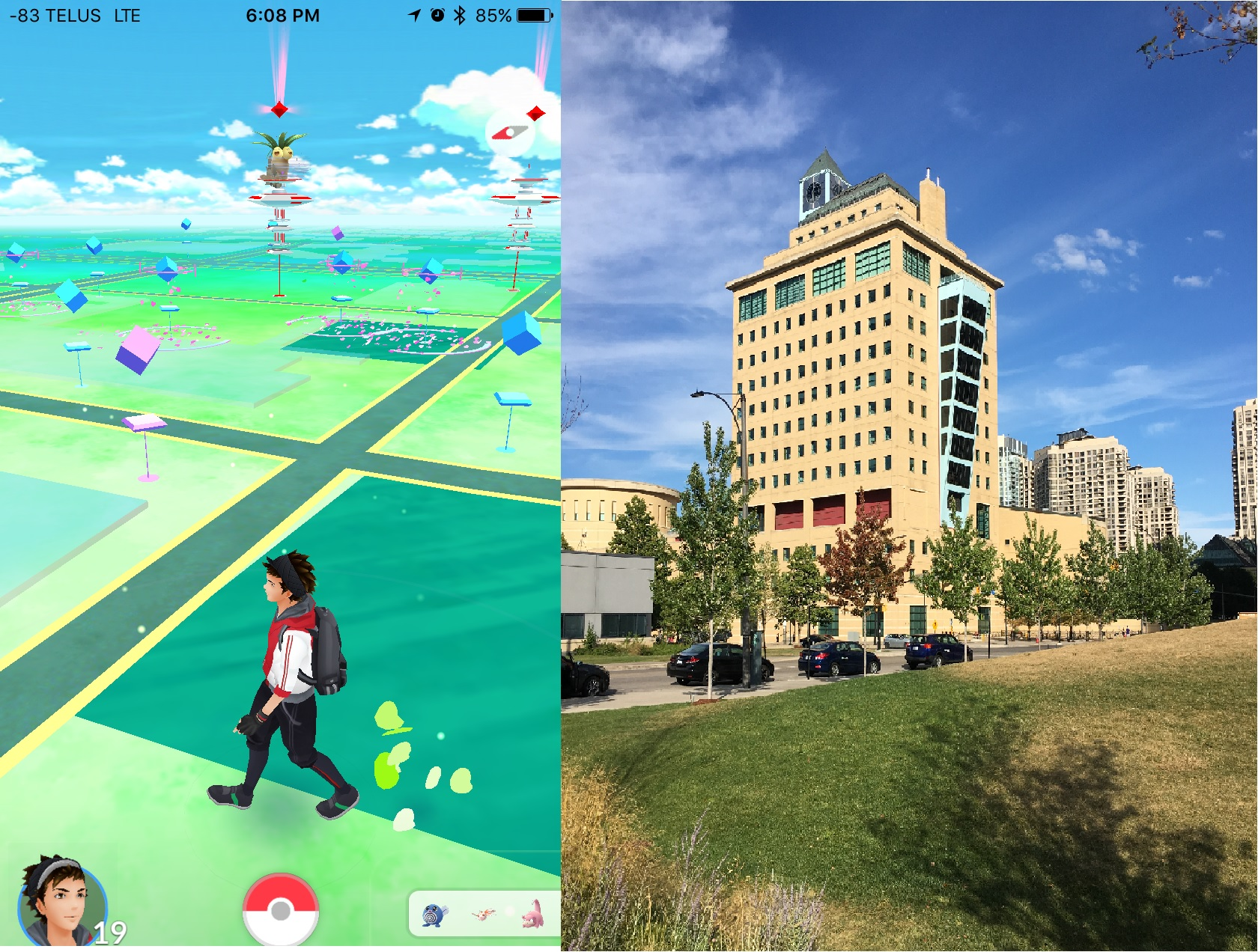 In-game screenshot (left) vs. real-life location (right)