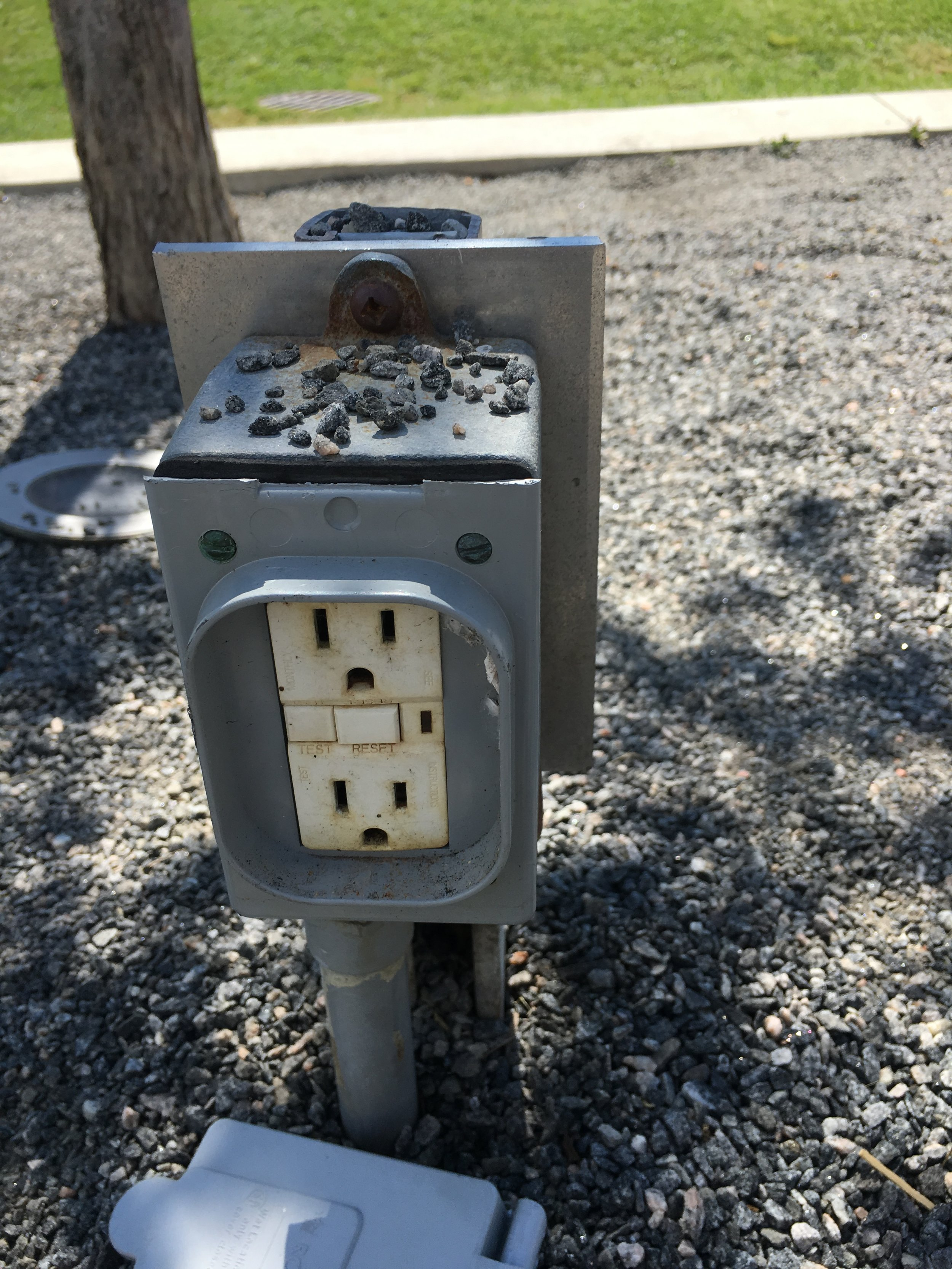 In-ground power outlet at Community Common Park