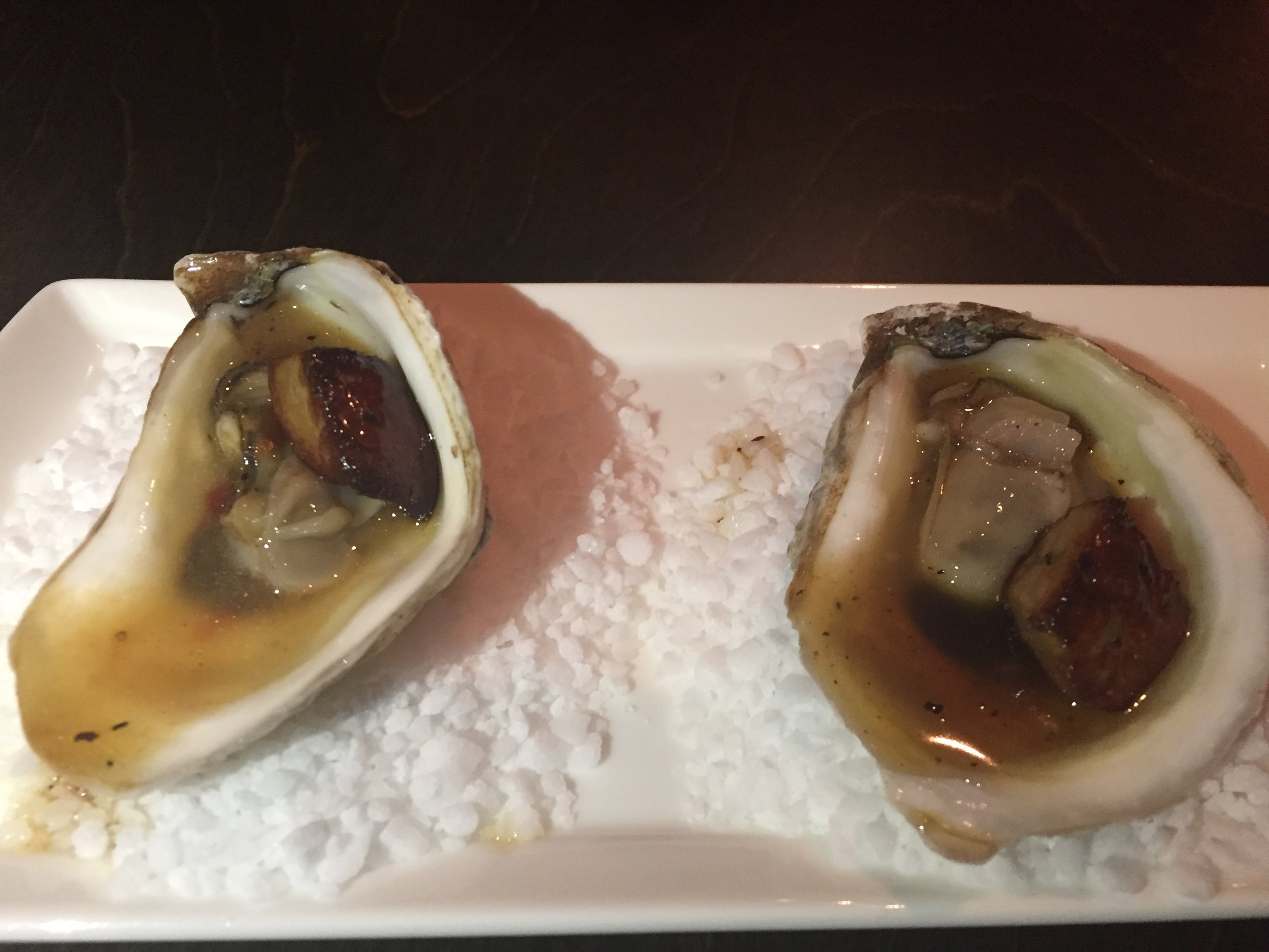 New Brunswick oysters with pan fried gras and sweet honey