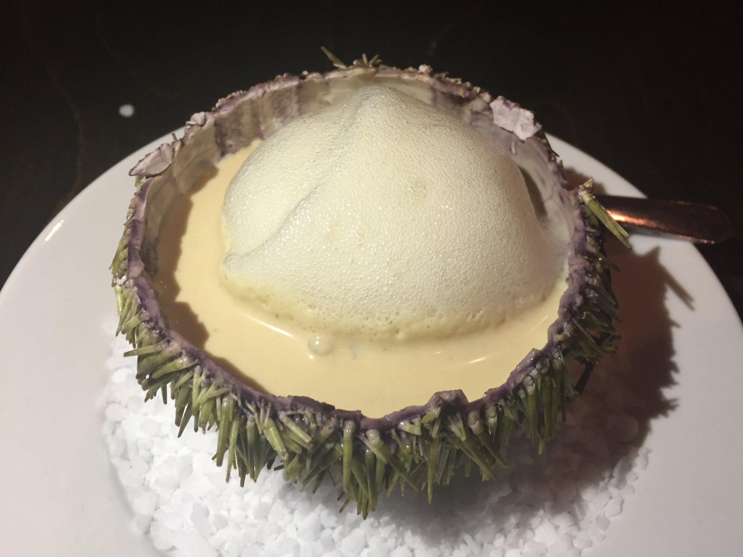 Sea urchin with a garlic, onion foie gras cream