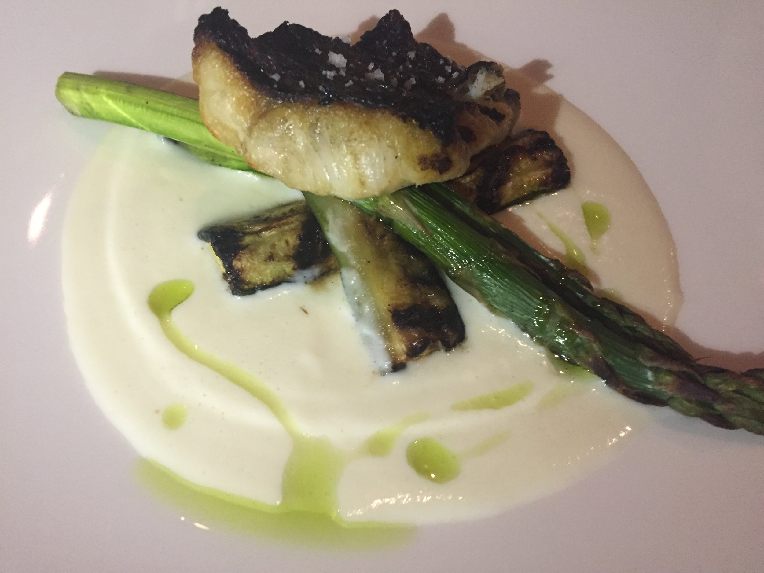 STRIPPED BASS: Grilled stripped bass, parsley root milk, charred zucchini, asparagus and parsley oil.