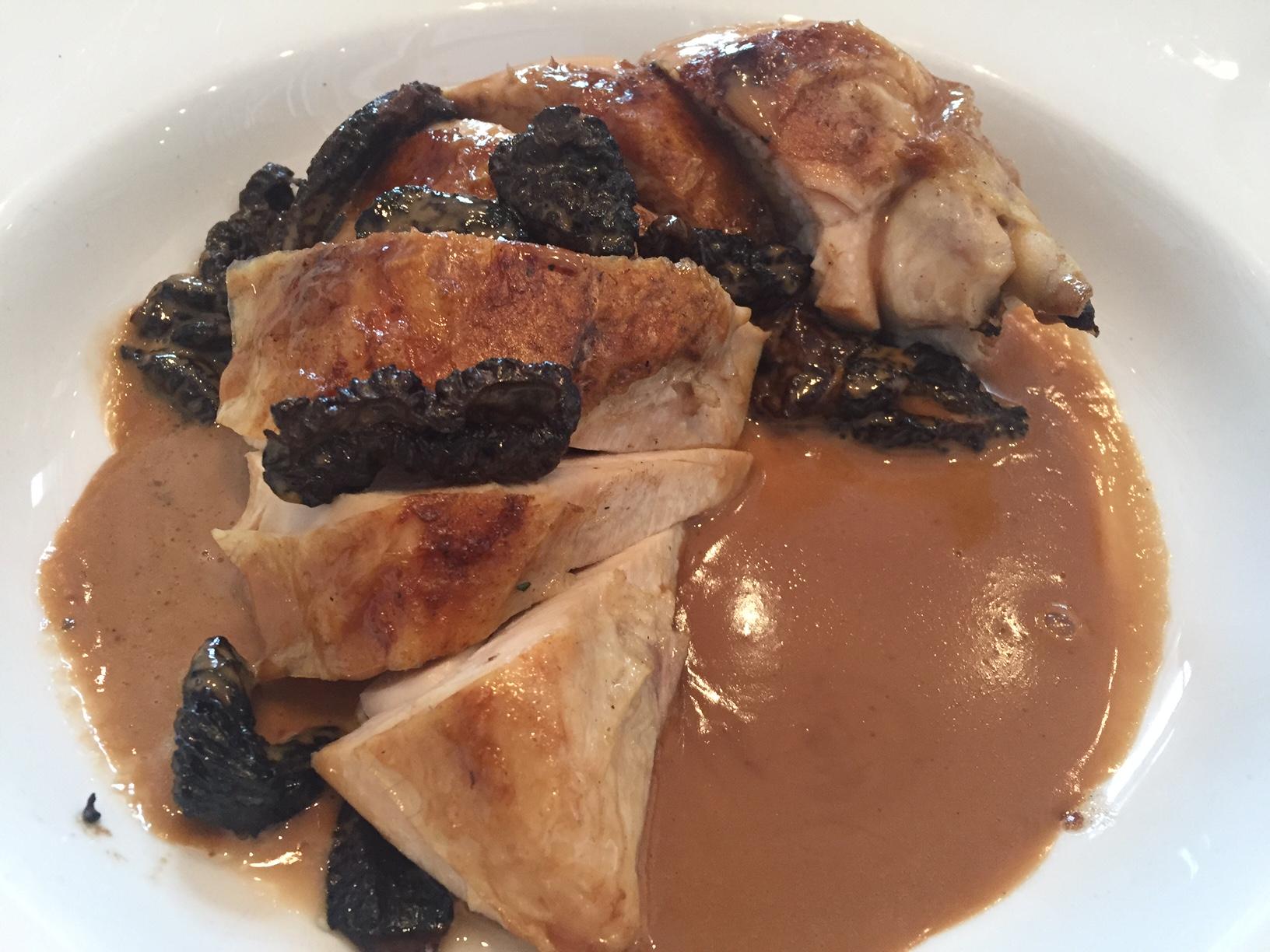 Chicken with morel mushroom sauce