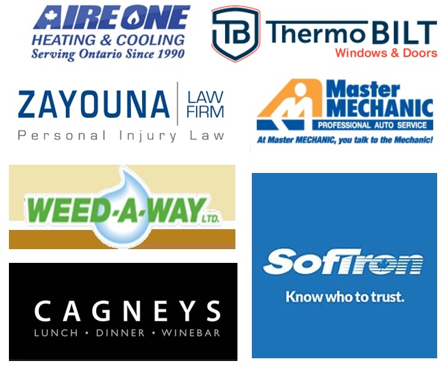 Seven local business sponsors for Tweetsteria at Cagney's in Mississauga on 24 May 2017