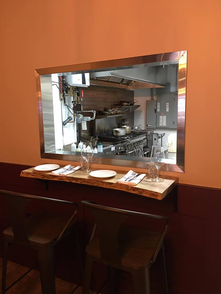 Seating for two at the Chef's Rail table