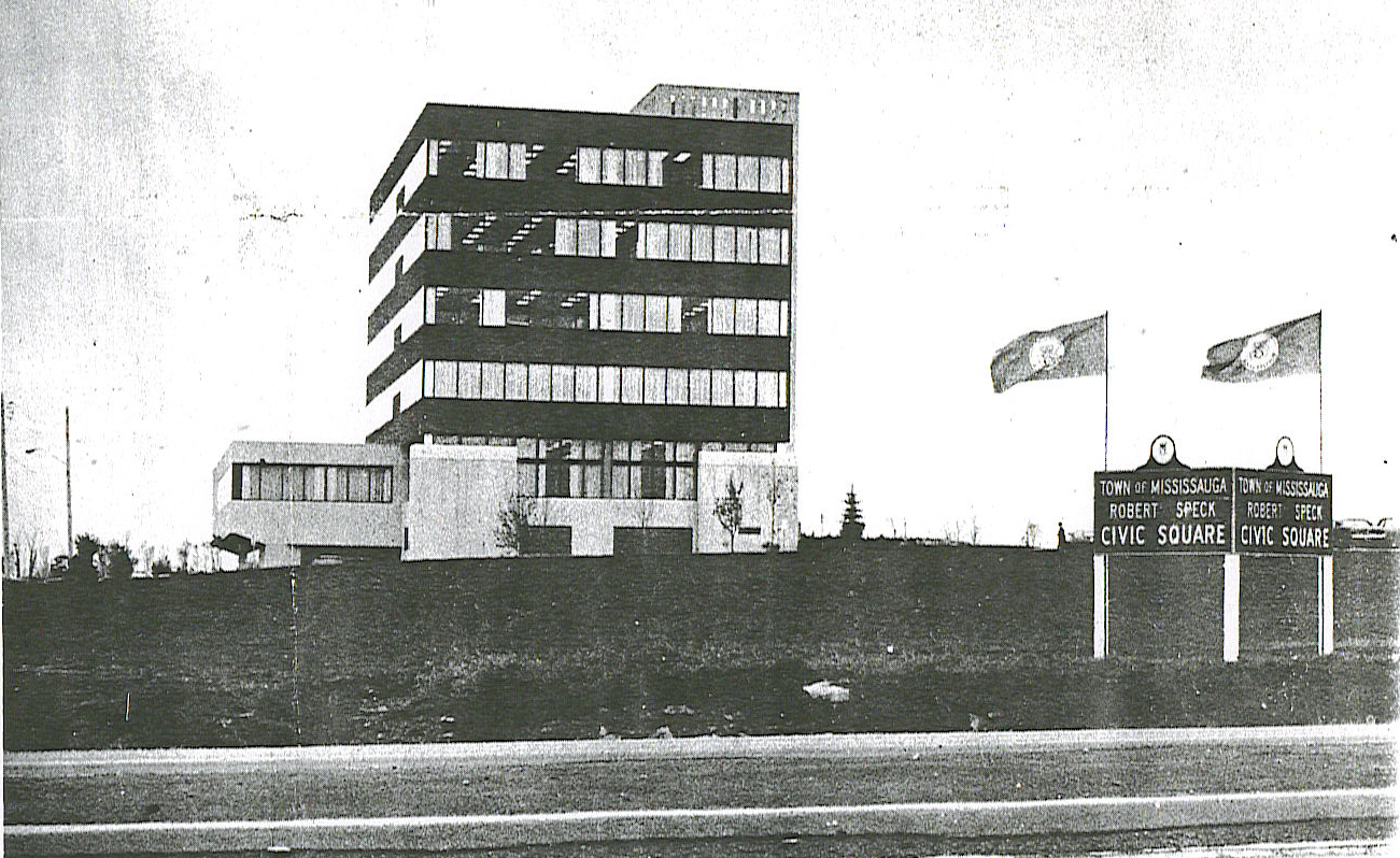 Mississauga City Hall and Robert Speck Civic Square, c1976.jpg