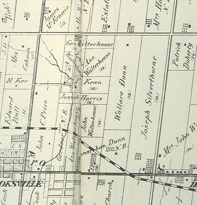 Cropped image from 1877 Historical Atlas of Peel County showing Mississauga Valleys area.