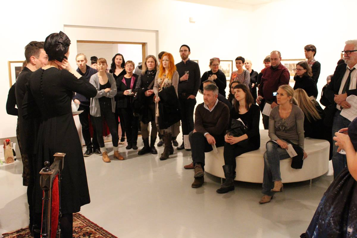 """2014 Opening of the exhibition """"Time Travel"""". Photo: Lilli Haapala."""