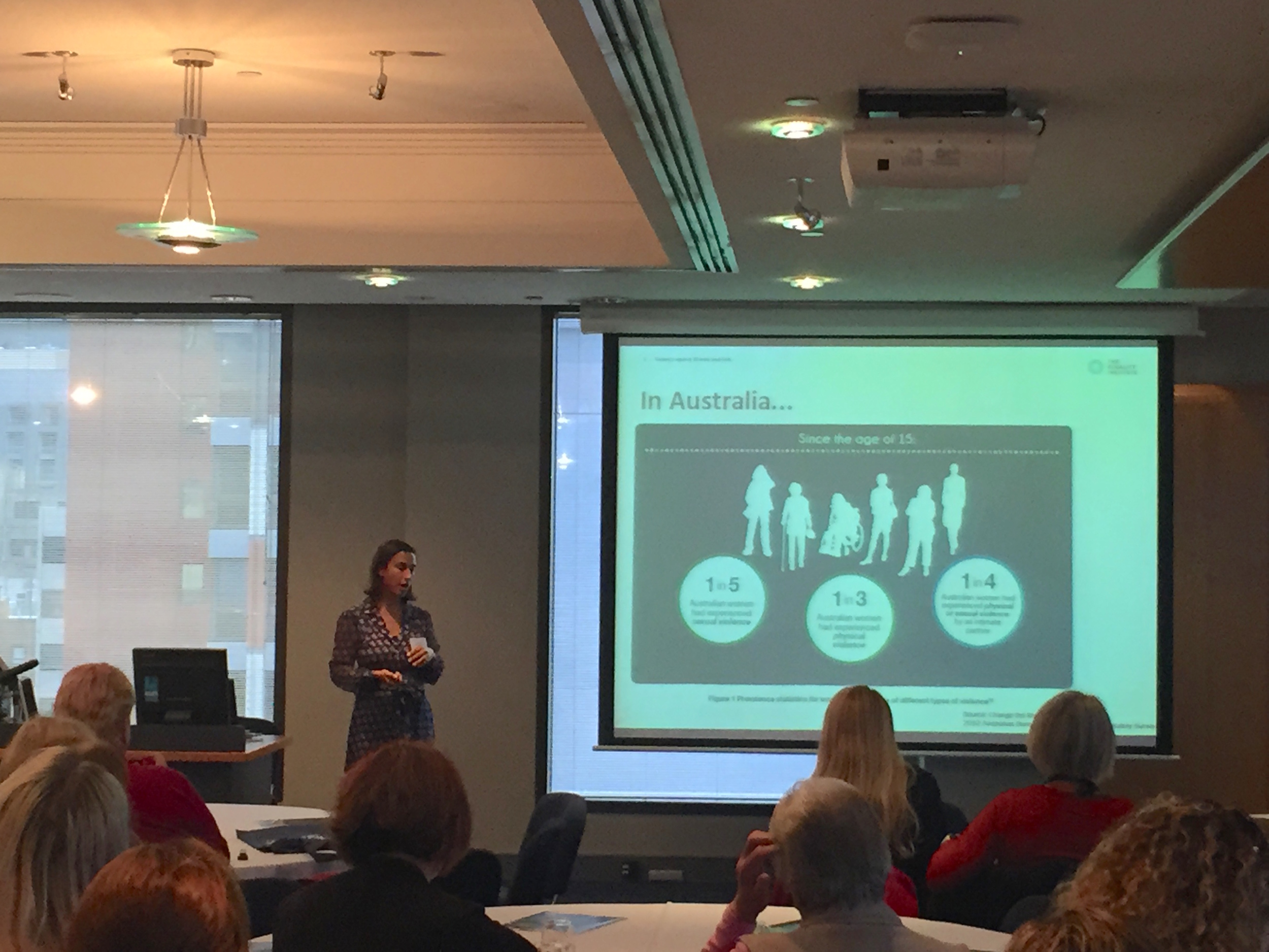 Dr Emma Fulu presenting at the 2016 Victorian Women's Conference