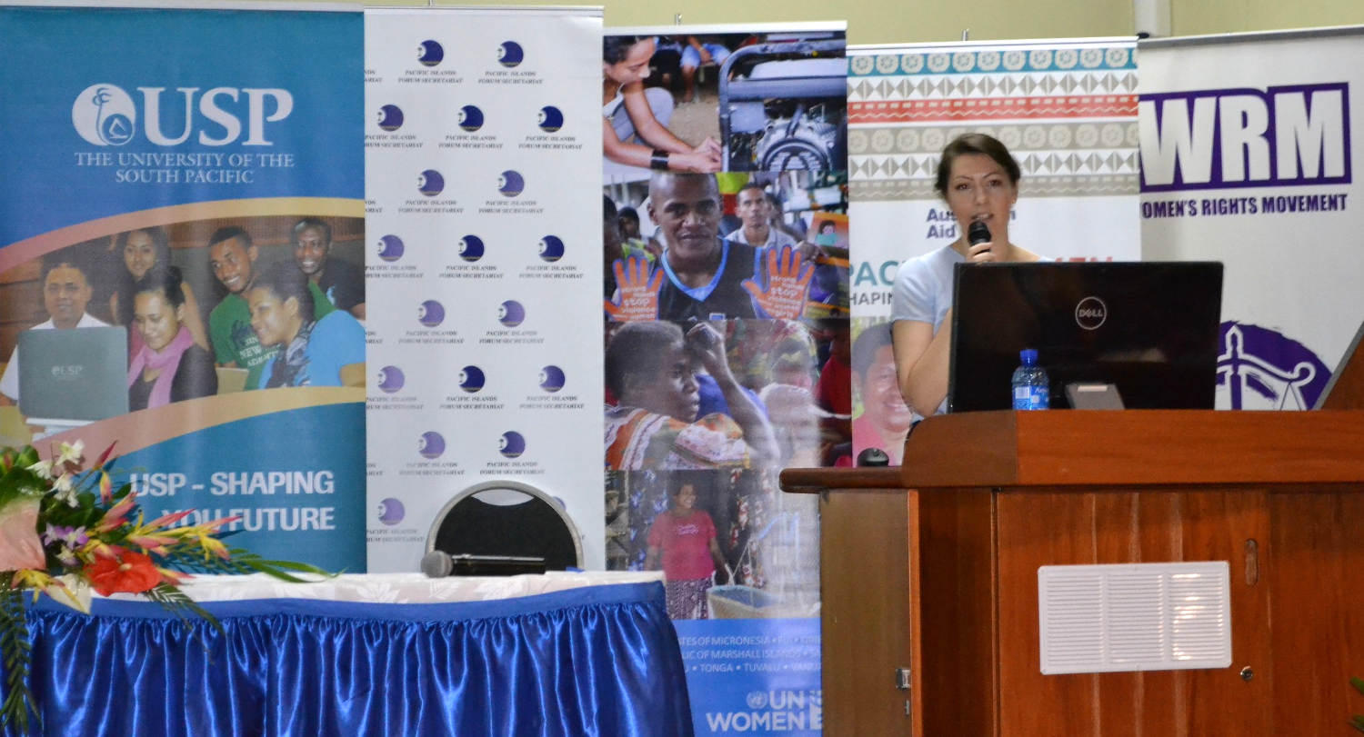 Our Communications and Marketing Manager, Marta Jasinska, presenting at the Pacific Gender Research Workshop