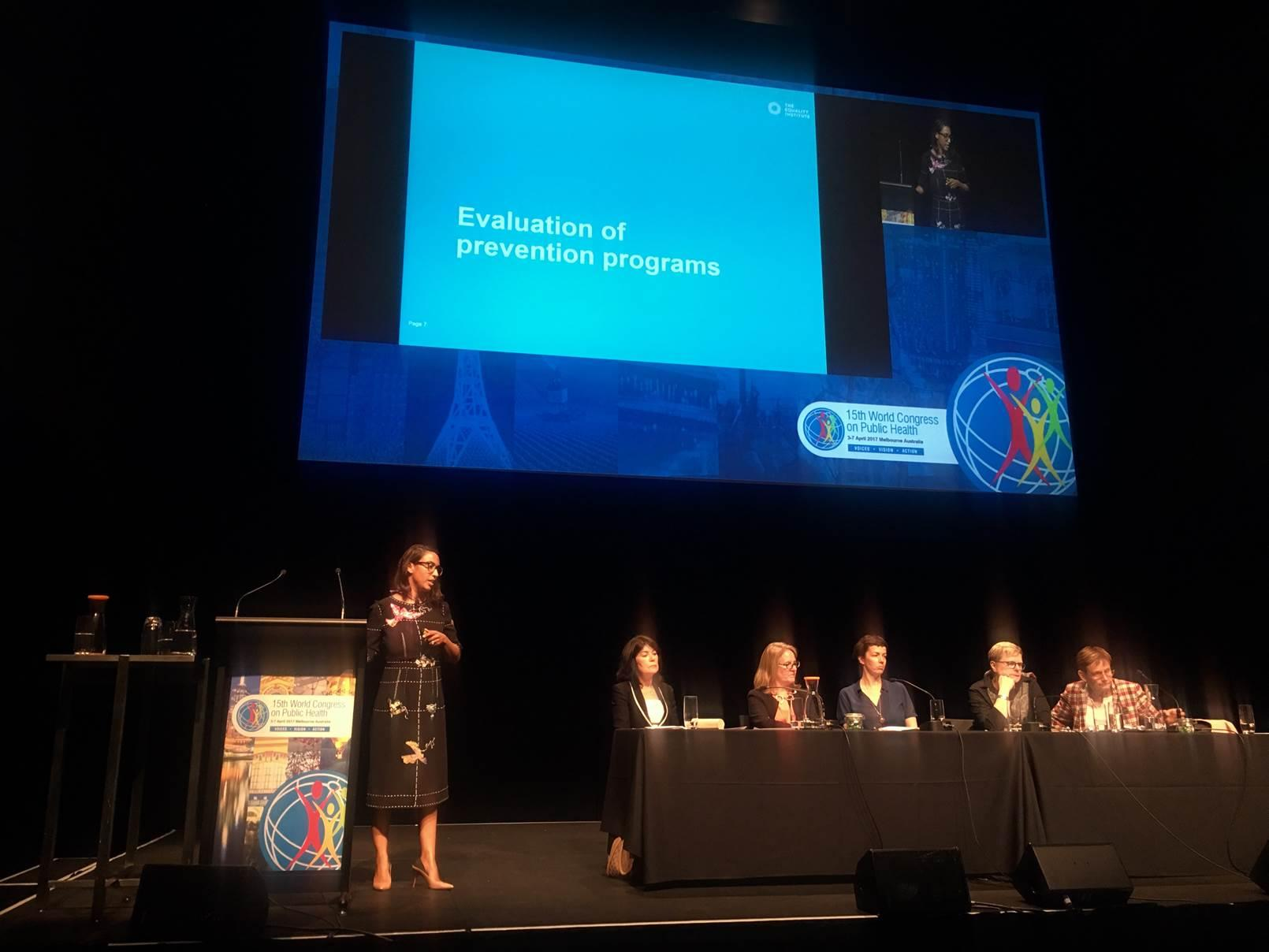 Dr Emma Fulu speaking at the 15th World Congress on Public Health.  Photo by Jane Torney, OurWatch