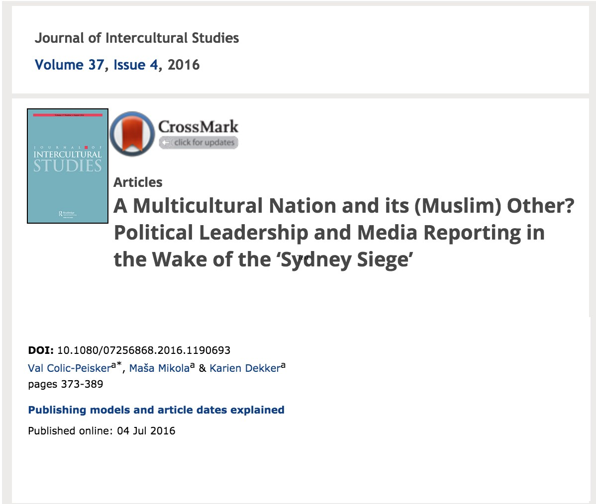 A timely article by Val Colic-Peisker with colleagues Masa Mikola and Karien Dekker.