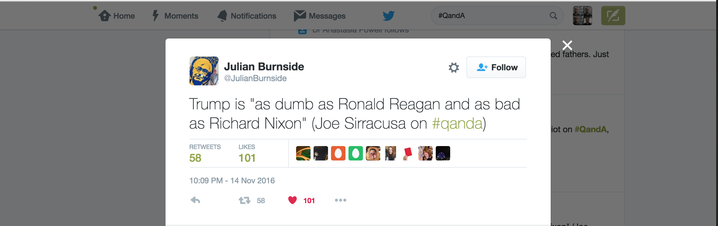 Joe was quoted in a Tweet by Julian Burnside QC.
