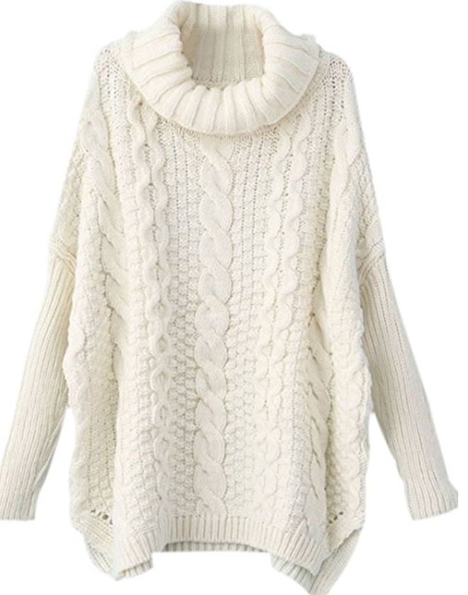 Chunky White Cable Knit Sweater