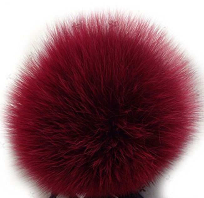 Ruby Red Faux Fur Keychain Purse Ring