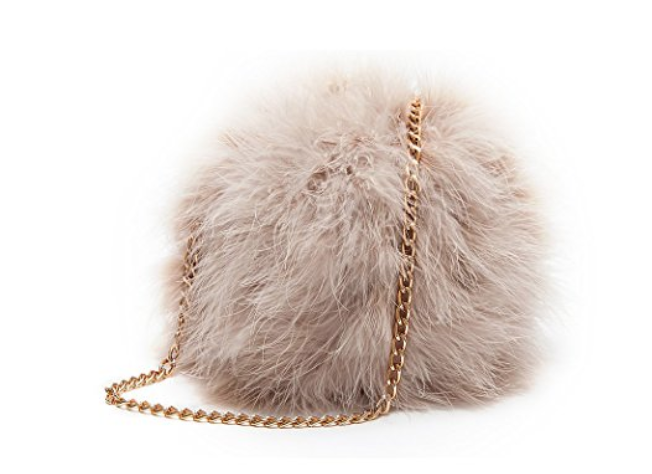 Faux Fur Round Clutch Shoulder Bag