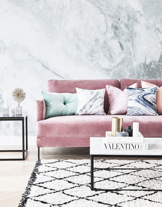 Pink couch, master your money code, aesthetic