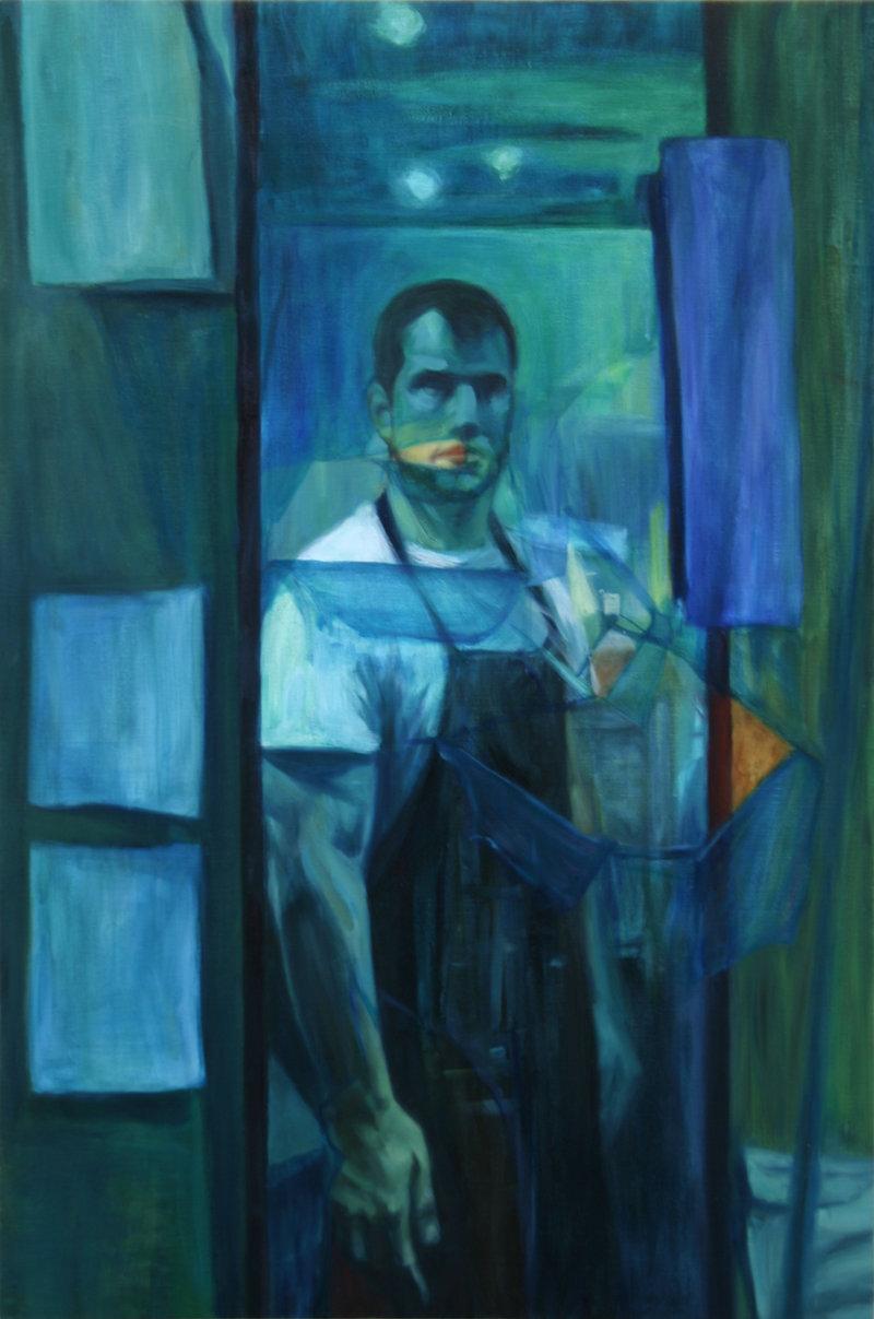 Self-Portrait Through Blue Tansparency