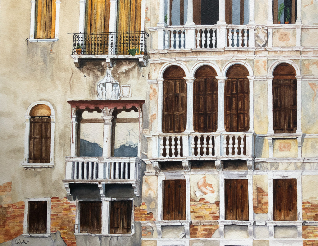 Venice (2019, watercolor on paper mounted on cradle board)  - Contact for pricing