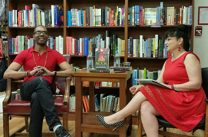 Joe Okonkwo and moderator Valerie G. Keane at the  Jazz Moon  launch, May 31, 2016 at Book Culture in Manhattan