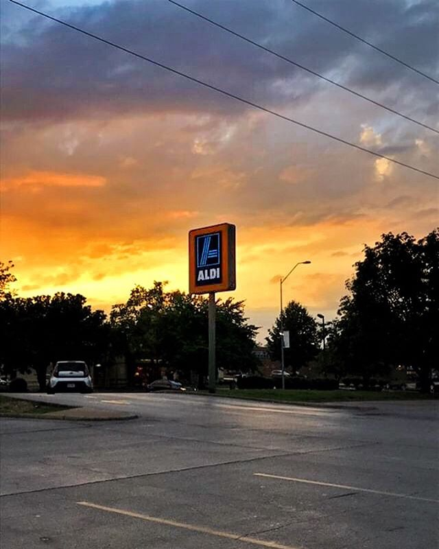 "#aldisunset from @currychx ""A classic layout aldi that has not yet been taken by the scourge of renovation"""